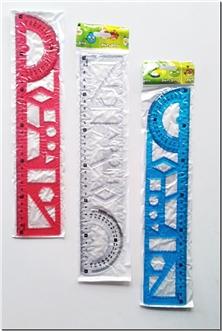 کتاب خط کش ژله ای 30 سانتی الوان - خط کش نشکن رنگی شابلو دار - خرید کتاب از: www.ashja.com - کتابسرای اشجع