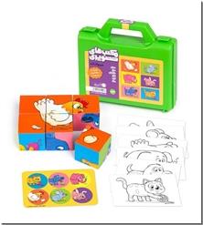 کتاب مکعب های تصویری - حیوانات - همراه با رنگ آمیزی و برچسب - خرید کتاب از: www.ashja.com - کتابسرای اشجع