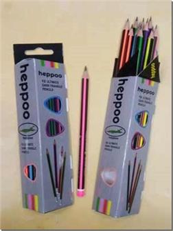 لوازم التحریر 12 عدد مداد مشکی سه گوش پاک کن دار - بسته 12 تایی مداد مشکی بدنه رنگی - خرید لوازم التحریر از: www.ashja.com - کتابسرای اشجع