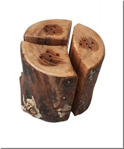 خرید صنایع دستی نمکدان سه قلو چوبی روستیک از: www.ashja.com - کتابسرای اشجع