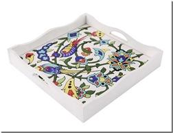 خرید صنایع دستی سینی کاشی دار مربع سفید از: www.ashja.com - کتابسرای اشجع