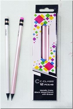 خرید لوازم التحریر 12 عدد مداد مشکی رنگ بدنه متالیک از: www.ashja.com - کتابسرای اشجع